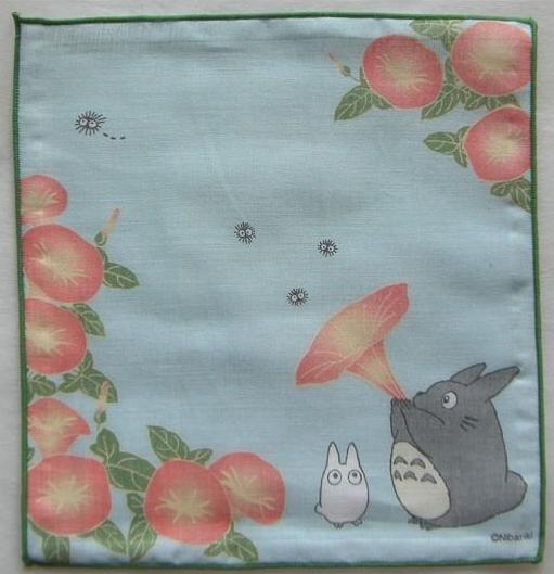 Ghibli- Totoro & Sho & Kurosuke - Handkerchief -21.5x21.5cm-Gauze-morning glory-2008-RARE-SOLD(new)