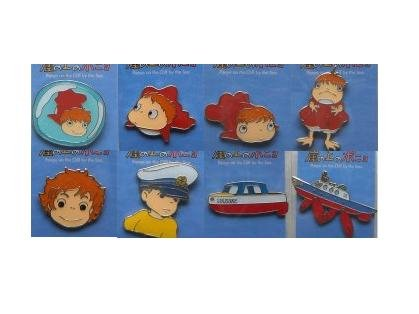 SOLD - 8 Pin Badge Set - Ponyo - Ghibli - 2008 - no production (new)
