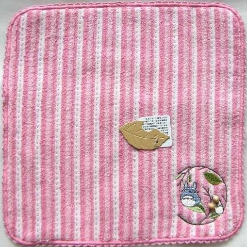 Ghibli - Chu & Sho Totoro - Mini Towel - Embroidered & Wooden Beads - stripe - pink - 2008 (new)