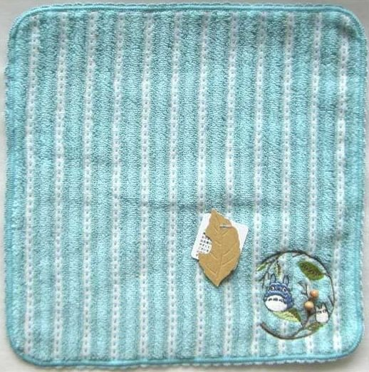 Ghibli - Chu & Sho Totoro - Mini Towel - Embroidered & Wooden Beads - stripe - blue - 2008 (new)