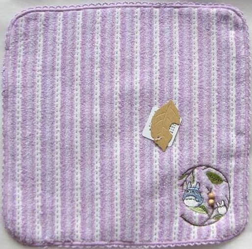 Ghibli - Chu & Sho Totoro - Mini Towel - Embroidered & Wooden Beads - stripe - purple - 2008 (new)