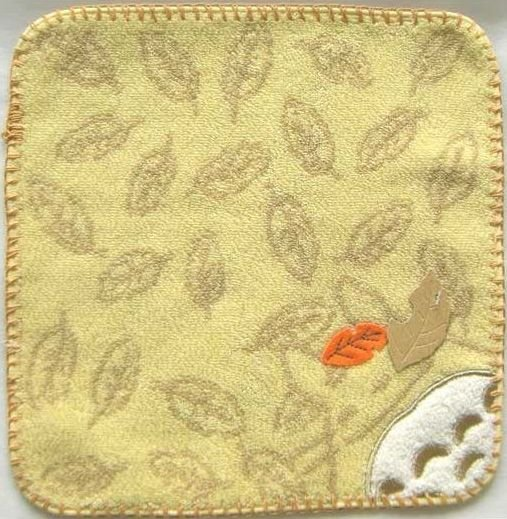 Ghibli - Totoro - Mini Towel - Embroidered & Leaf Applique -smile-yellow-2008-outproduction(new)