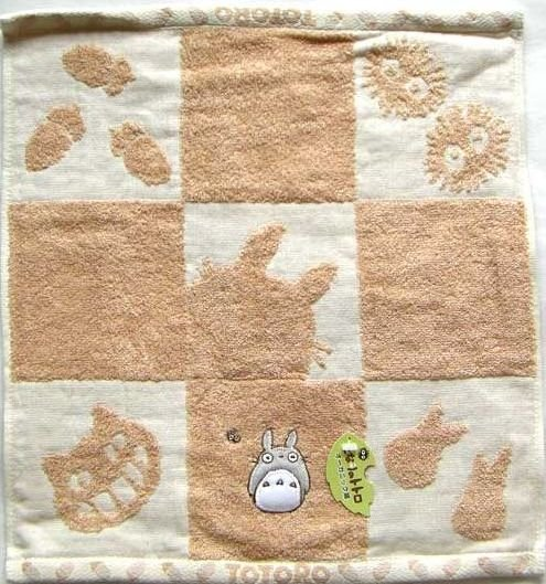 Hand Towel - 34x36cm - Organic - Applique & Embroidery - made in Japan - Totoro - 2008 (new)