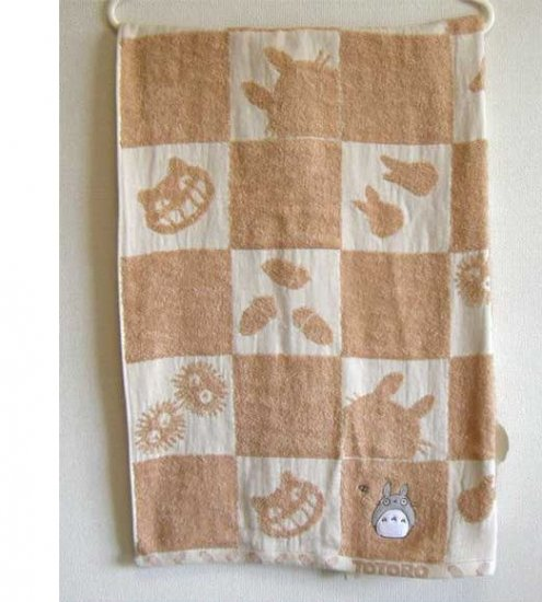 Bath Towel - 60x120cm - Organic - Applique & Embroidery - made in Japan - Totoro - 2008 (new)