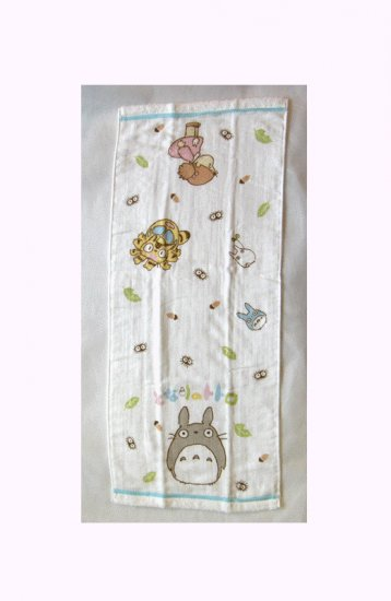 Face Towel - 34x80cm - Gauze & Pile - Milkcrown - made in Japan - Totoro - Ghibli - 2008 (new)