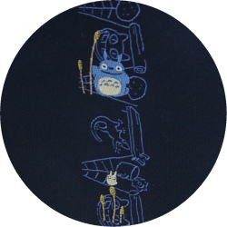 Ghibli - Chu & Sho Totoro - Necktie - Silk - Jacquard - drawing - navy - made in Japan - 2008 (new)