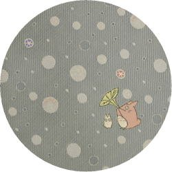 Ghibli - Chu & Sho Totoro - Necktie - Silk - Jacquard - bubble -light gray-made in Japan-2008(new)