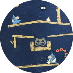 Ghibli - Chu & Sho Totoro - Necktie - Silk - maze - navy - made in Japan - 2008 (new)