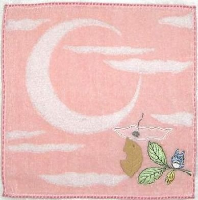 Ghibli - Totoro - Mini Towel - Embroidered & Applique - moon - pink - 2008 (new)