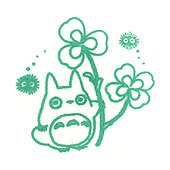 Pre-inked / Self-inking Stamp - green - Totoro & Kurosuke & Clover - made in Japan - Ghibli (new)