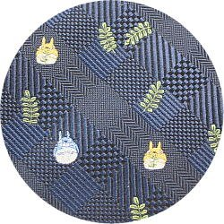 Ghibli - Totoro - Necktie - Silk - Jacquard Weaving - check - navy - made in Japan - 2008 (new)