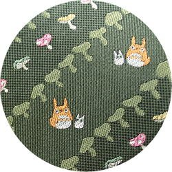 Ghibli - Totoro - Necktie - Silk - Jacquard Weaving - mushroom - green - made in Japan - 2008 (new)