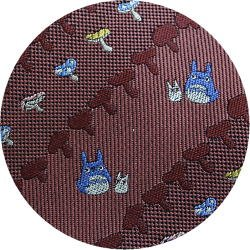 Ghibli - Totoro - Necktie - Silk - Jacquard Weaving - mushroom - crimson - made in Japan -2008(new)