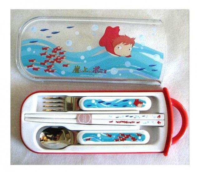 Fork & Spoon & Chopsticks in Case Set - made in Japan - Ponyo - Ghibli - 2009 (new)
