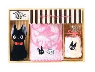 Towel Gift Set - Mini & Hand Towel & Plush Doll - Jiji - Kiki's Delivery Service - 2009 (new)