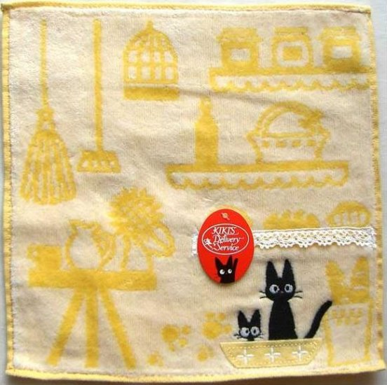 Ghibli - Kiki's Delivery Service - Mini Towel - Jiji Embroidered - yellow - 2009 (new)
