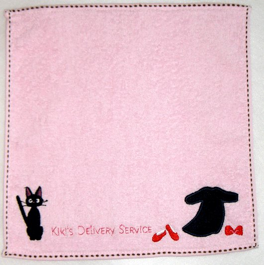 Ghibli - Kiki's Delivery Service - Mini Towel - Jiji & Dress Embroidered - pink - 2009 (new)