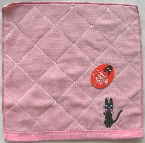 Ghibli - Kiki's Delivery Service - Mini Towel - Jiji with Ribbon Embroidered -pink - 2009 (new)