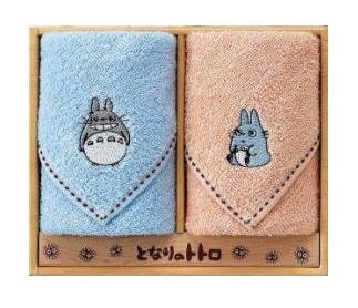 Towel Gift Set - 2 Mini Towel - Totoro & Chu Totoro Embroidered - blue & orange - 2009 (new)
