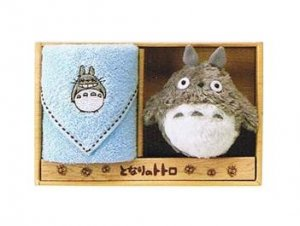 Towel Gift Set - Mini Towel & Mascot - Totoro Embroidered - blue - Ghibli - 2009 (new)