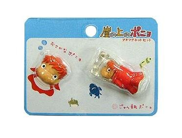 2 Magnet Set - Ponyo Face & Ponyo in Bottle - Ghibli - 2009 - no production (new)