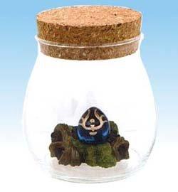 Figure in Aqua Glass Pot - Cork Cap - Hikouseki / Flying Stone - Laputa - 2009 (new)