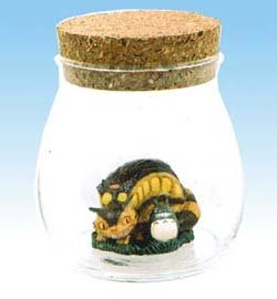 Figure in Aqua Glass Pot - Cork Cap - Totoro & Nekobus - Ghibli - 2009 (new)