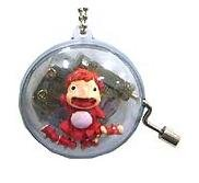 SOLD - Music Box - Chain Strap - Ponyo & Sisters - Ghibli - Sekiguchi - 2009 - no production (new)