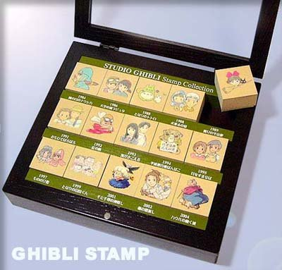 15 Rubber Stamp in Natural Wooden Case - Ghibli Collection - outproduction- RARE (new)