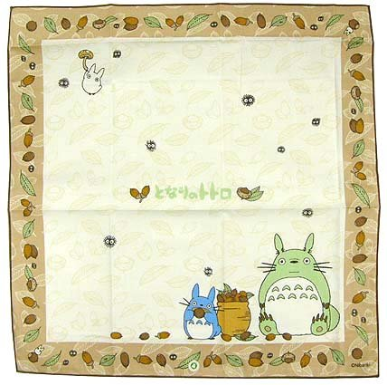Lunch Bento Cloth - 43x43cm - Totoro & Chu & Sho & Kurosuke - made in Japan - Ghibli - 2009 (new)