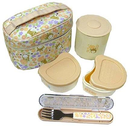 Lunch Bento Box Set - Thermal Jar & 2 Containers & Fork & Case - made in Japan - Totoro - 2009 (new)