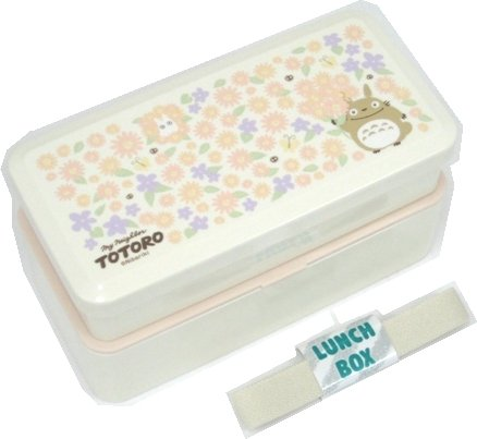 2 Tier Lunch Bento Box & Belt - microwave - made in Japan - Totoro & Flower - Ghibli - 2009 (new)