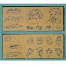 20 Stamps Set - Wooden Tray - Ponyo & Sousuke & Ponponsen & Sisters & Fish -made in Japan-2009(new)