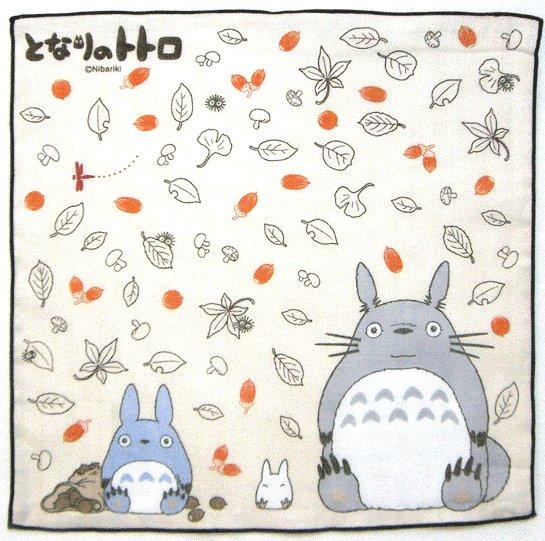 Handkerchief - 29x29cm - Totoro & Chu & Sho Totoro - orange - Ghibli - 2009 (new)