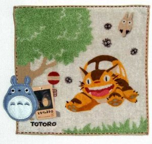 Mini Towel - Applique - bus stop - Totoro & Sho Totoro & Nekobus - 2010 (new)