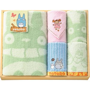 Towel Gift Set - Mini &amp; Wash &amp; Loop &amp; Face &amp; Bath Towel - Totoro &amp; Mei - Ghibli - 2010 (new)