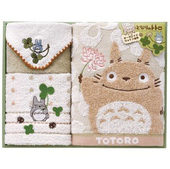 Towel Gift Set - Mini & Wash & Face Towel -  Organic - Totoro - Ghibli - 2010 (new)