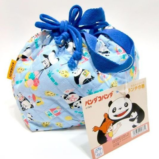 Lunch Bento Bag / Kinchaku - Quilt - Panda Kopanda / Panda Go Panda - Ghibli - 2010 (new)