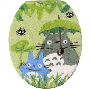 Toilet Lid Cover - regular - green - Totoro &amp; Chu &amp; Kurosuke - Ghibli - 2010 (new)