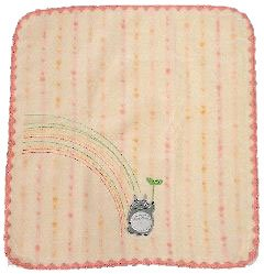 Hand Towel - Non-Twisted Thread - Totoro Applique - rainbow - pink - Ghibli - 2007 (new)