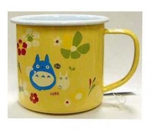 SOLD - Mug Cup - Enamel - Chu &amp; Sho Totoro &amp; Kurosuke - no production - damaged (new)