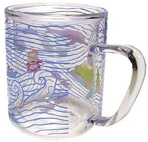 SOLD - Glass Mug Cup - 2 Layers Heat Resistance - microwave - Ponyo - Ghibli -outofproduction(new)