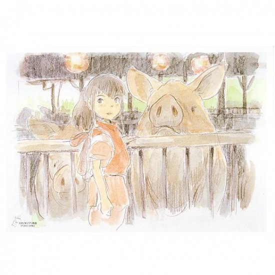 2 left - Postcard - Miyazaki Hayao's Drawing - Sen & Pig - Spirited Away - outproducton (new)