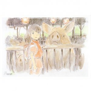 1 left - Postcard - Miyazaki Hayao's Drawing - Sen & Pig - Spirited Away - outproducton (new)