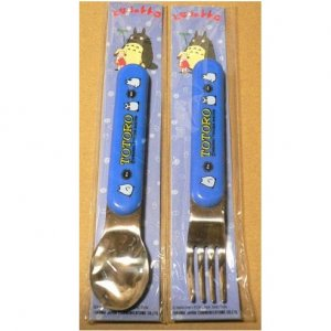 1 left - Fork & Spoon Set - Sho Totoro & Kurosuke -made in Japan -out of production (new)
