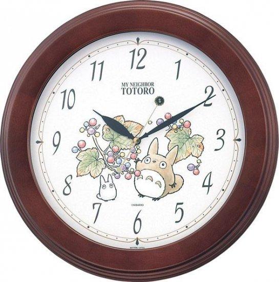 Wall Clock - Quartz - wooden frame - made in Japan - Totoro & Sho & Kurosuke - Ghibli - 2010 (new)