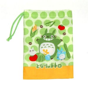 Cup Bag / Kinchaku - yasai - Totoro & Chu & Sho - made in Japan - Ghibli - 2010 (new)