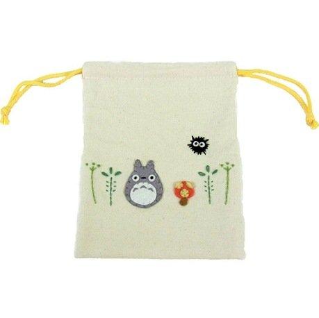 Kinchaku Bag - Applique & Embroidery - Totoro & Kurosuke - Ghibli - 2011 - no production (new)