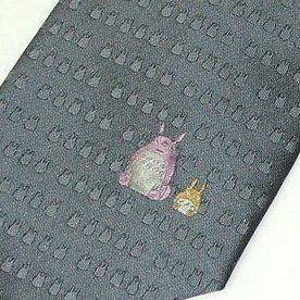 Necktie - Silk - grey - point - Jacquard Weaving - made in Japan - Totoro - Ghibli - 2011 (new)