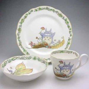SOLD - 3 Piece Set - Cup & Plate (M) & Bowl (S) - Bone China - Noritake - Totoro (new)